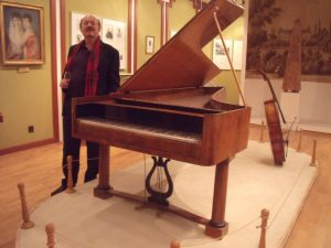 A fortepiano played by Beethoven at the Brunswick family home (now a Beethoven museum), Martonvasar, nr. Budapest, Hungary.